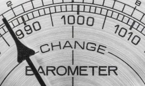 Barometer with the indicator moving towards change